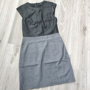 Theory black leather top and gray dress sz 4